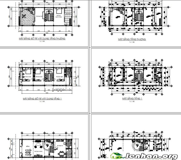 Free download – Bản vẽ chi tiết mẫu thiết kế nhà phố rộng 6m
