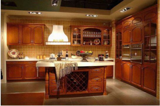 Mẫu Nhà Bếp Đẹp Với Nội Thất Bằng Gỗ Hình Số 8