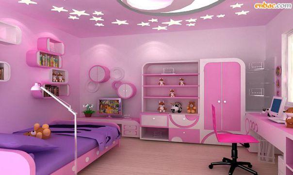Trần thạch cao phòng ngủ bé gái -> Mẫu 3