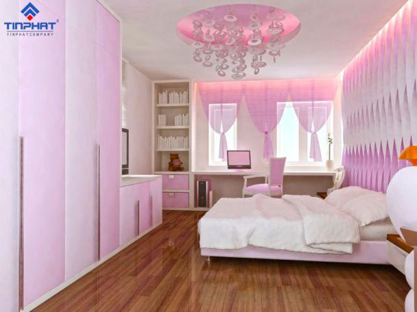 Trần thạch cao phòng ngủ bé gái -> Mẫu 4