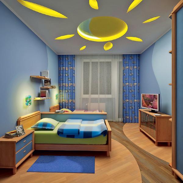 Trần thạch cao phòng ngủ bé trai -> Mẫu 2