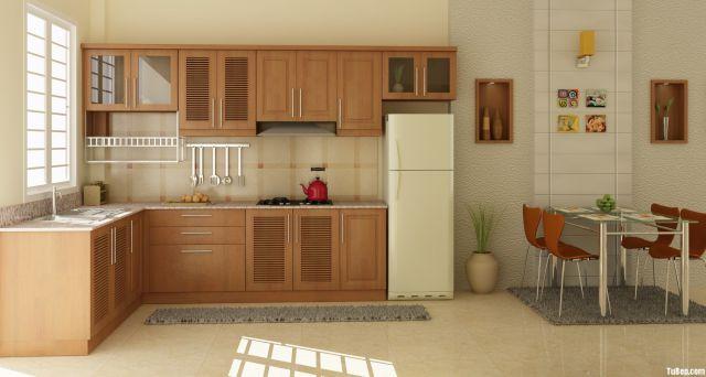Mẫu tủ bếp gỗ Sồi Nga giá rẻ kiểu dáng trang nhã.