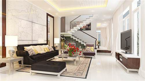 Phòng khách trang trí không gian hiện đại, tạo sự sinh động.
