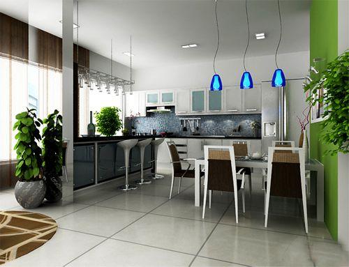Nhà bếp thiết kế liên thông với phòng ăn, tạo sự rộng rãi. cách bố trí nội thất khá đẹp.