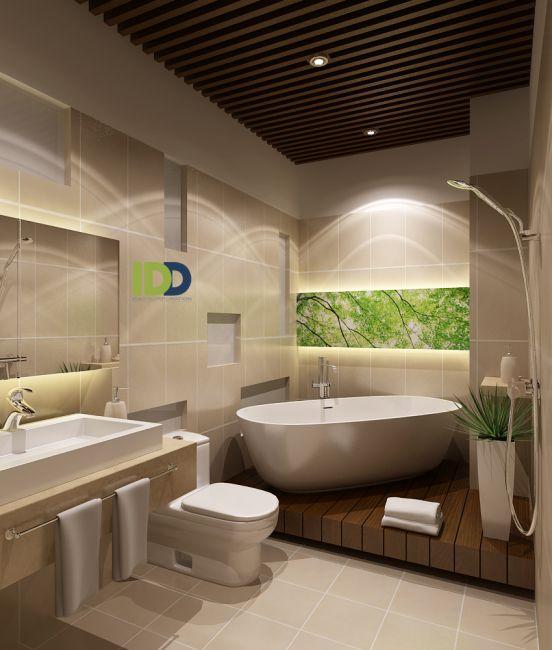 Nhằm tối ưu cho nhà diện tích nhỏ, nhà vệ sinh được thiết kế để tránh tốn diện tích - một bên là giếng trời.