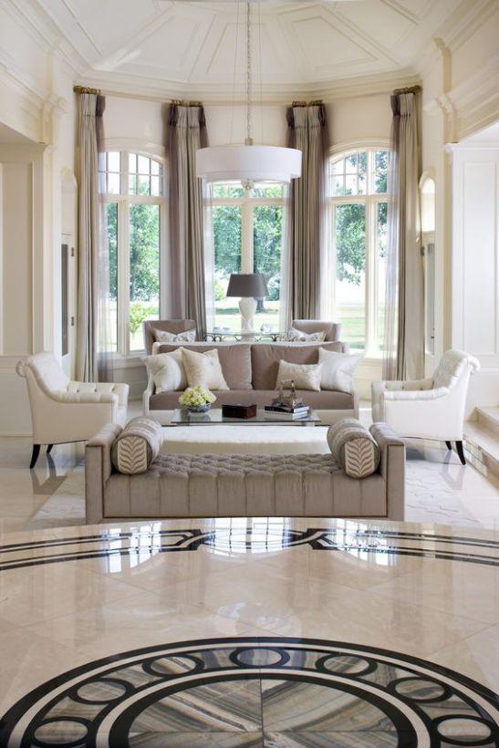 Mẫu thiết kế phòng khách đẹp với kiến trúc tân cổ điển - Phối cảnh 9