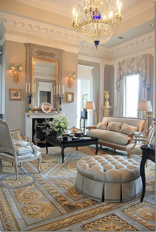 Mẫu thiết kế phòng khách đẹp với kiến trúc tân cổ điển - Phối cảnh 8