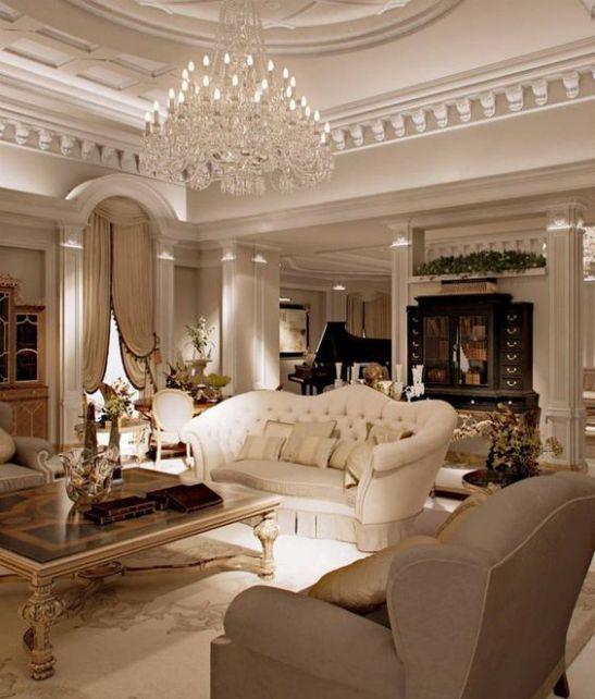 Mẫu thiết kế phòng khách đẹp với kiến trúc tân cổ điển - Phối cảnh 5
