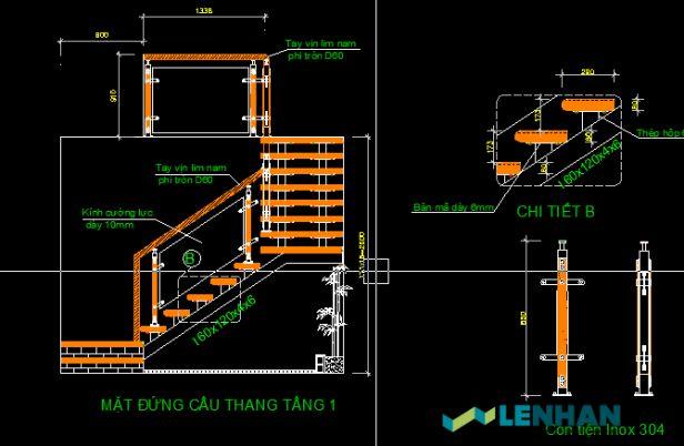Download miễn phí bản vẽ cad lan can cầu thang kính