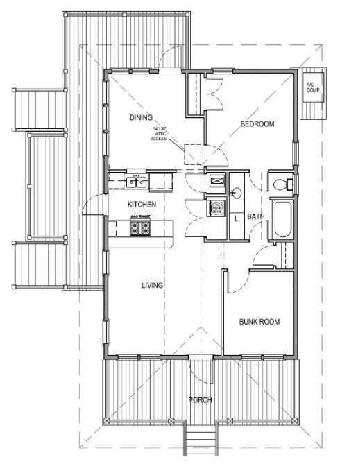 Mặt bằng chi tiết căn nhà sàn.