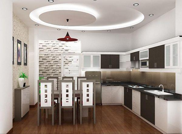 Trần thạch cao hình chữ nhật cho Nhà Bếp + Phòng Ăn -> Mẫu 1