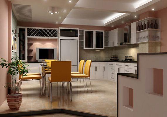 Trần thạch cao hình chữ nhật cho Nhà Bếp + Phòng Ăn -> Mẫu 3