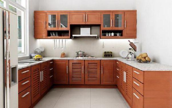 Tiết kiệm không gian bằng mẫu tủ bếp gỗ Xoan Đào đẹp hình chữ U