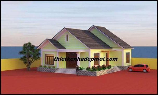 Mẫu nhà biệt thự sân vườn mái thái 4 phòng ngủ đậm chất Thôn Quê