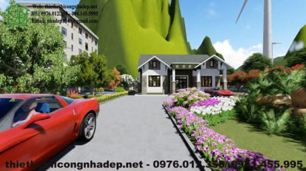 Mẫu biệt thự vườn 1 tầng đẹp mang phong cách kiến trúc mái thái