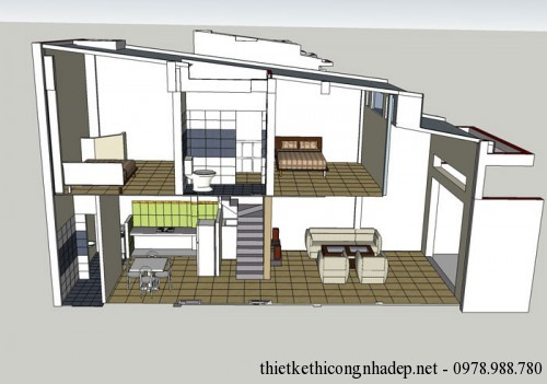 Bản vẽ nhà cấp 4 mái tôn có gác lửng đẹp 4.4×12.6m