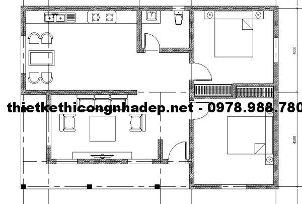 Mặt bằng nhà cấp 4 mái thái 8x12m