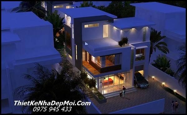Mẫu thiết kế biệt thự đẹp 3 tầng 8×12 hiện đại có sân rộng
