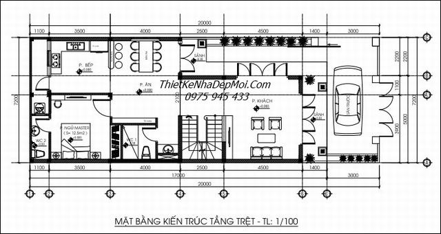 Bản vẽ thiết kế nhà 1 trệt 1 lầu 3 phòng ngủ