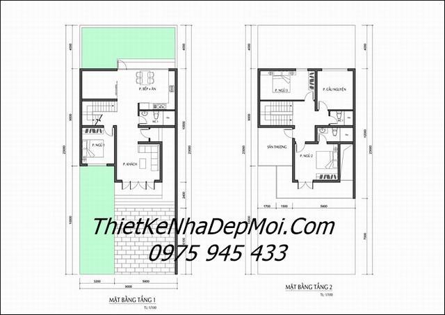 Thiết kế nhà 2 tầng 9x10