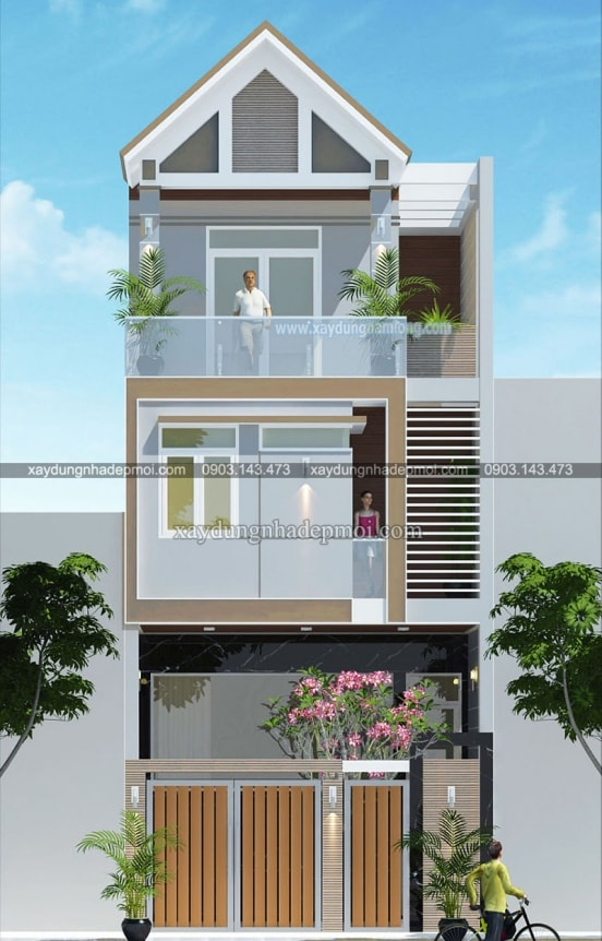 Diện tích khiêm tốn lựa chọn nhà phố 3 tầng mặt tiền 6m