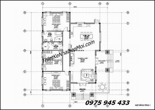 mat bang biet thu vuon - Mẫu nhà vườn cấp 4 kiểu mái thái