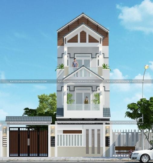 Kiến trúc hiện đại 2019 với mẫu nhà phố 3 tầng 4 phòng ngủ