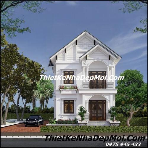 Mẫu thiết kế nhà 1 trệt 1 lầu mái thái đẹp ở nông thôn sắc nước hương trời