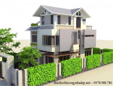 Ấn tượng với mẫu thiết kế biệt thự vườn 3 tầng đẹp 8x14m