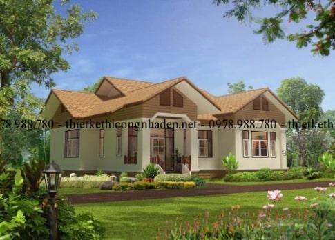Bản vẽ mẫu nhà biệt thự vườn 1 tầng đẹp mái thái diện tích 120m2