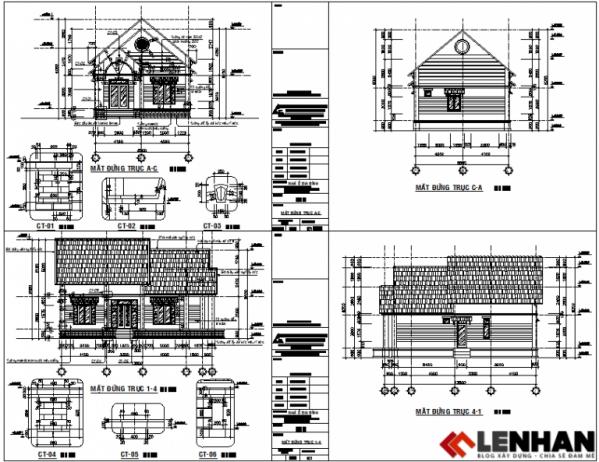 thiết kế nhà cấp 4 1 tầng hiện đại - h3