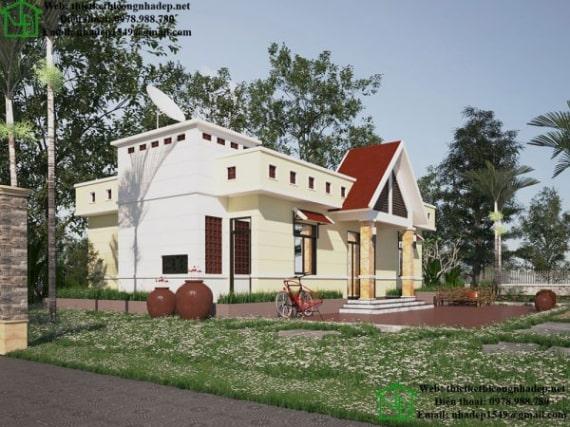 Ấn tượng với mẫu nhà mái bằng 1 tầng tại Phú Thọ