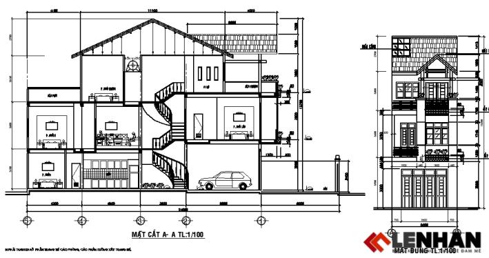 (Download Miễn Phí Bản Vẽ) mẫu thiết kế nhà ống mặt tiền 5m đẹp