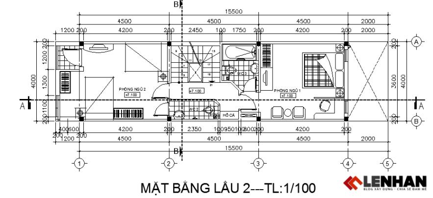 Mặt bằng tầng lầu 2  nhà ống 4 tầng 4x15,5m
