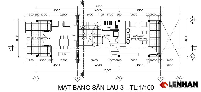 Mặt bằng tầng lầu 3 nhà ống 4 tầng 4x15,5m