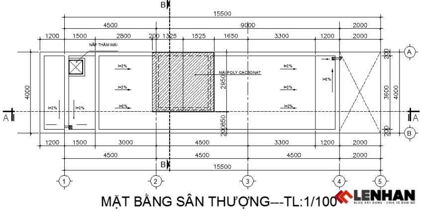 Bàn vẽ tầng mái nhà ống 4 tầng 4x15,5m