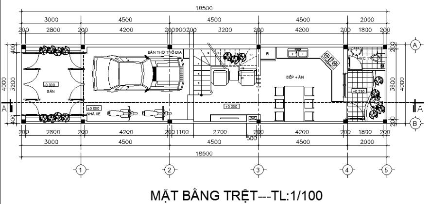 Tầng trệt nhà ống 4 tầng 4x15,5m