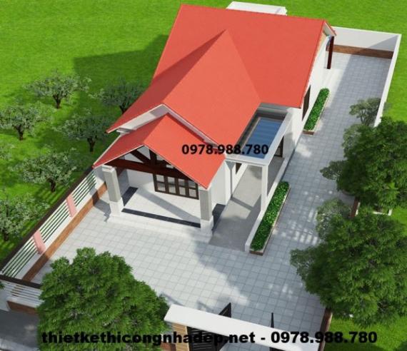 Thiết kế nhà cấp 4 mái thái 7x14m