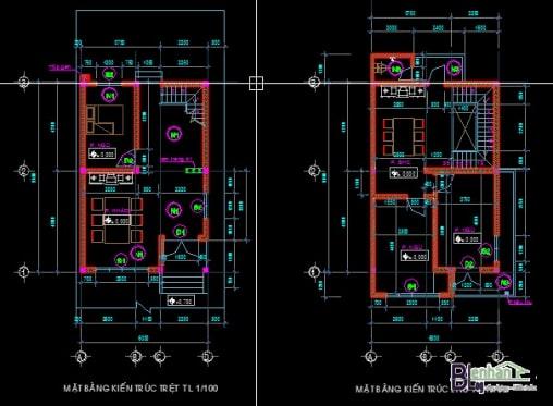 bản vẽ nhà đẹp 2 tầng đơn giản