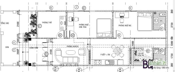 Bản vẽ nhà 1 tầng 2 phòng ngủ mái thái