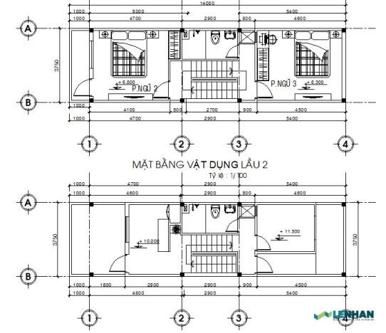 Bản vẽ mẫu nhà ống lệch tầng