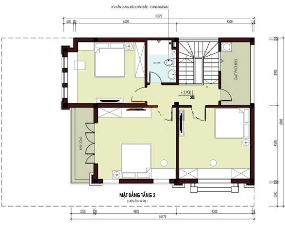 Mặt bằng tầng 2 thiết kế biệt thự 2 tầng đẹp