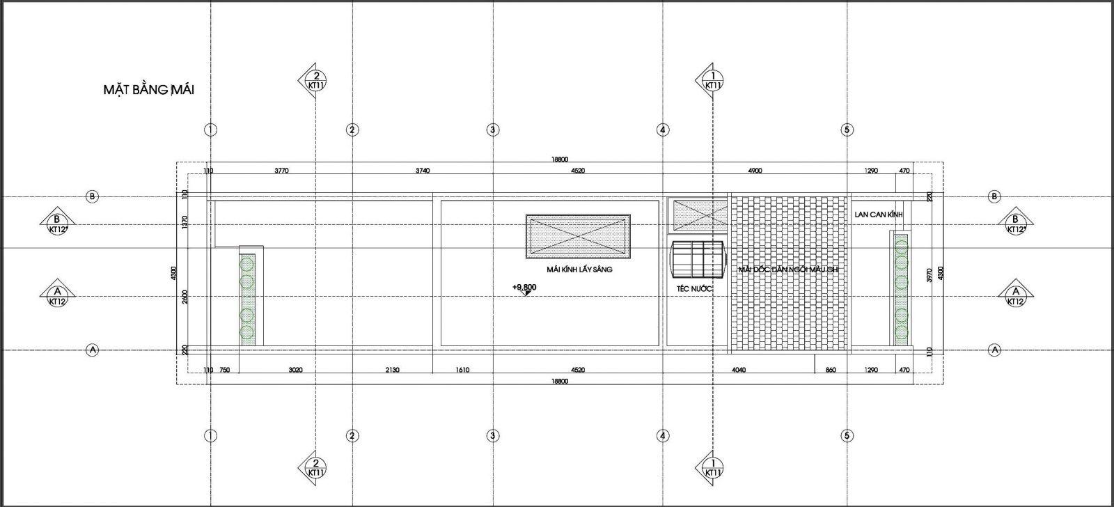 Mặt bằng mái nhà phố 4x19m 4 tầng