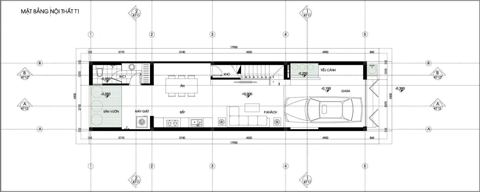 Mặt bằng tâng 1 nhà phố 4x19m 4 tầng