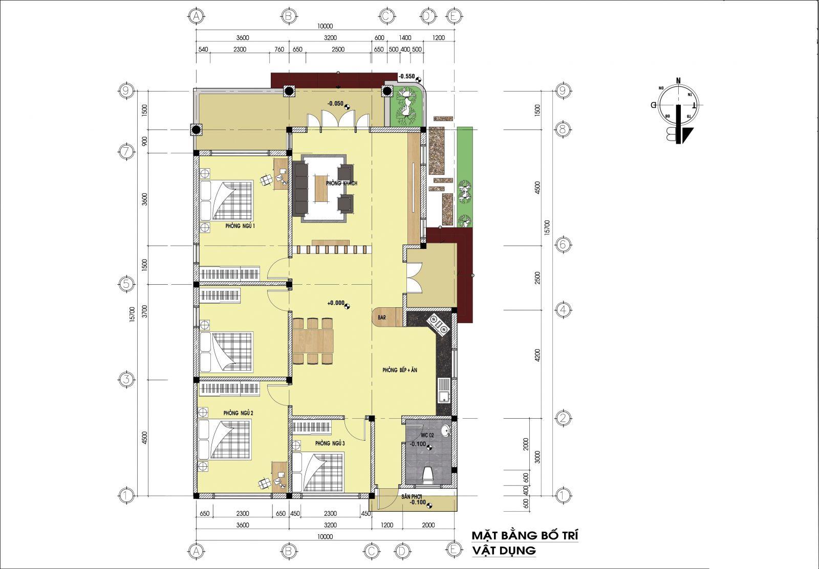 Thiết kế Nhà cấp 4 nông thôn 4 phòng ngủ 150m2