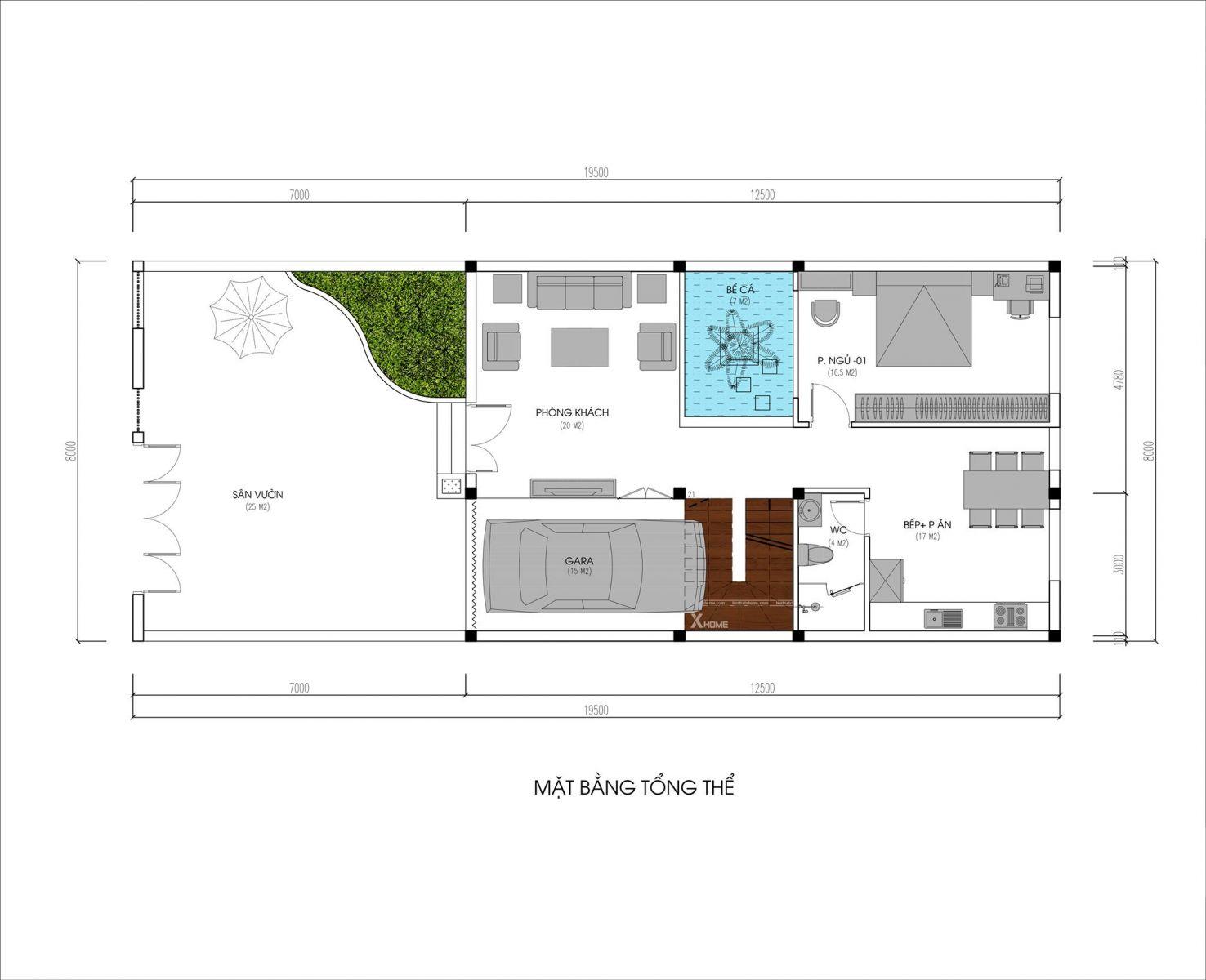 Tư vấn thiết kế Biệt thự hiện đại 3 tầng  8x20m