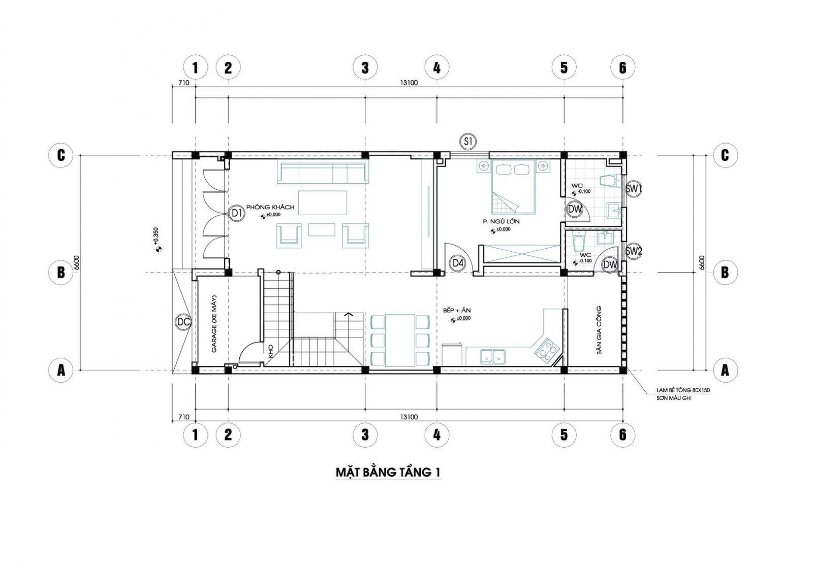 Mặt bằng tầng 1 mẫu nhà đẹp 2 tầng 3 phòng ngủ