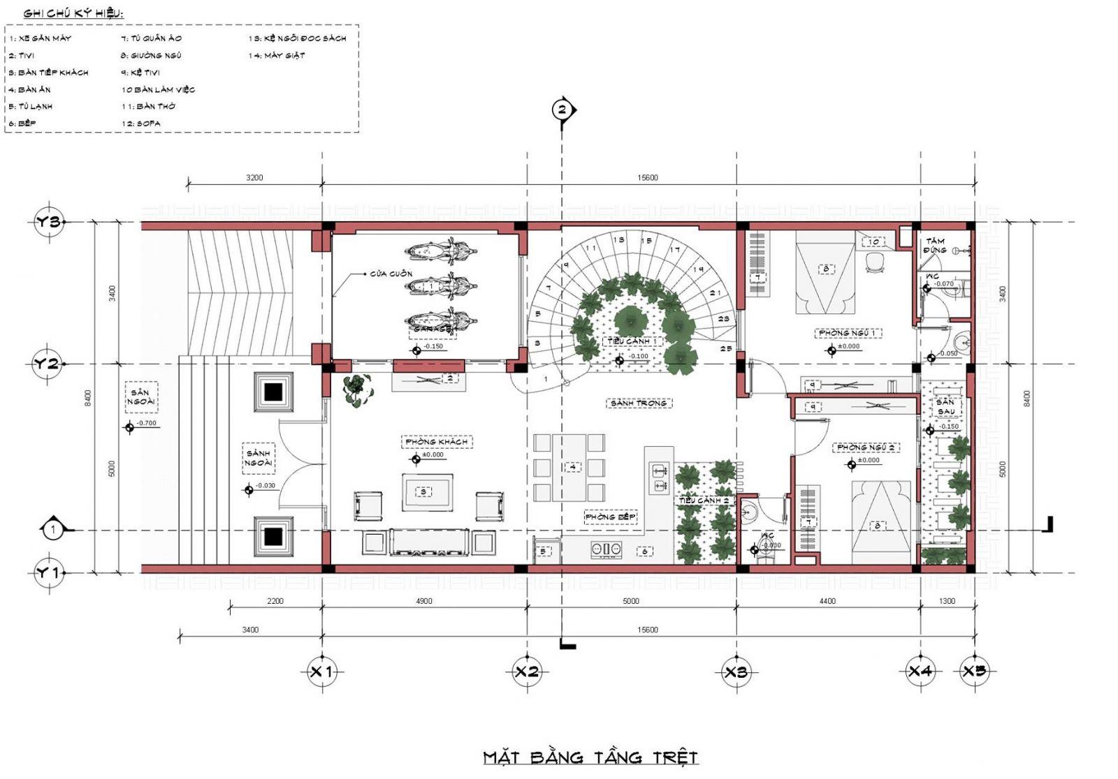 Mặt bằng tầng 1 nhà mặt phố mái thái 2 tầng