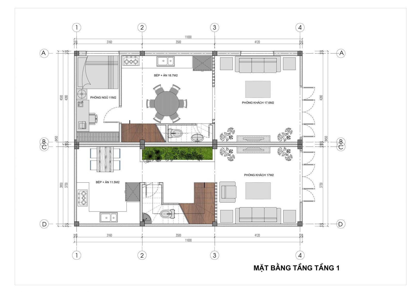 Mặt bằng tầng 1 mẫu nhà phố đẹp 2.5 tầng
