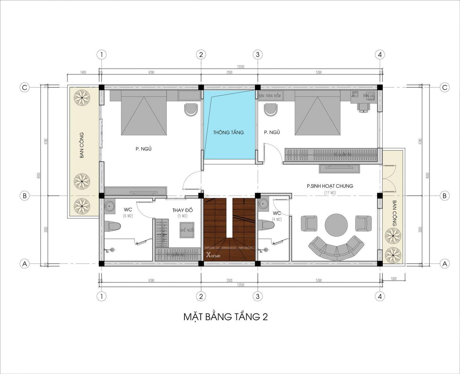 Mặt bằng thiết kế Biệt thự 8x20m (160 m2) hiện đại 3 tầng